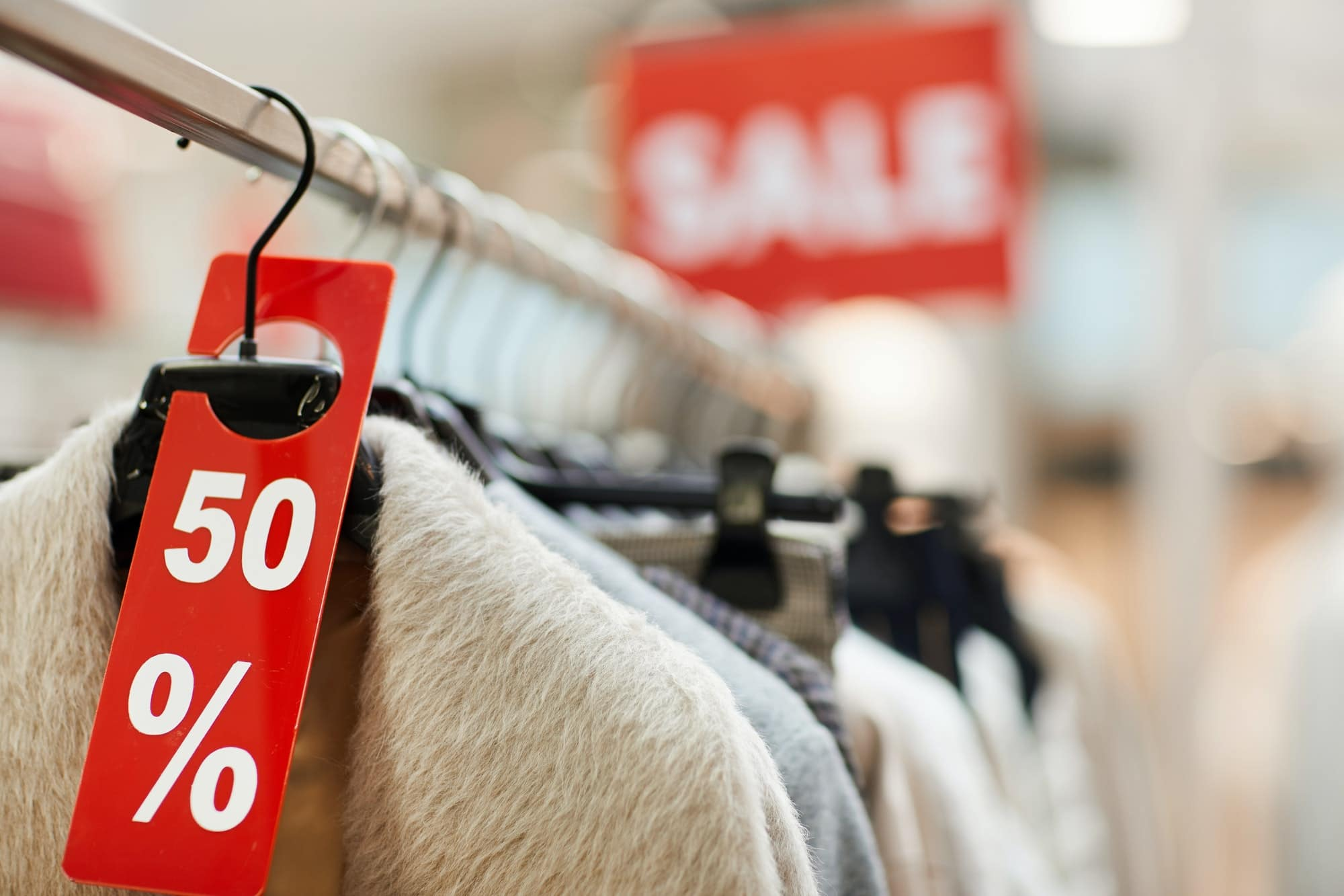 Sale Tags in Clothing Store