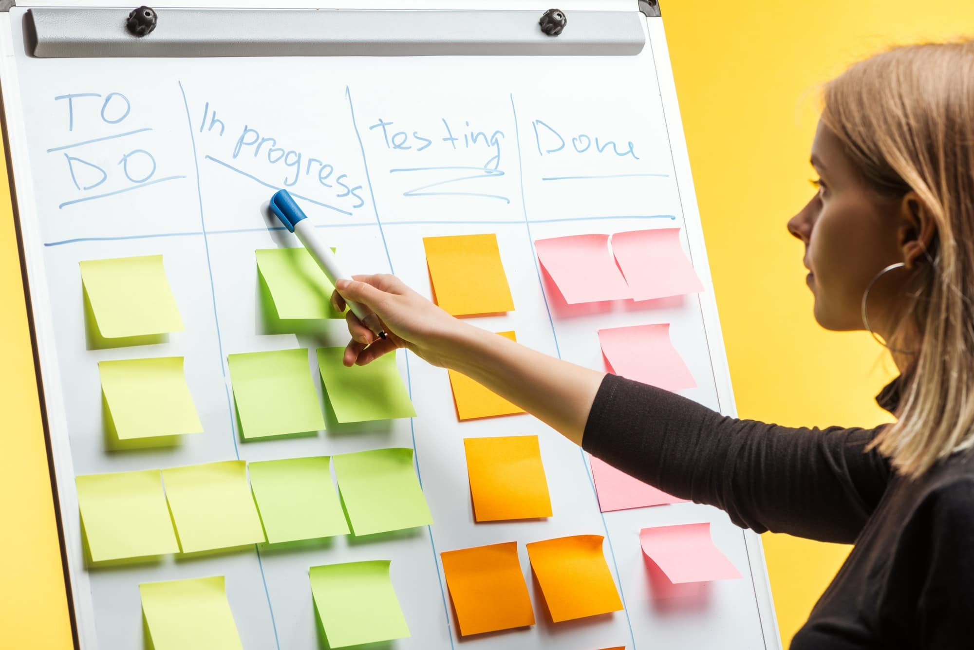 profile of businesswoman standing near white flipchart, pointing at words over sticky notes